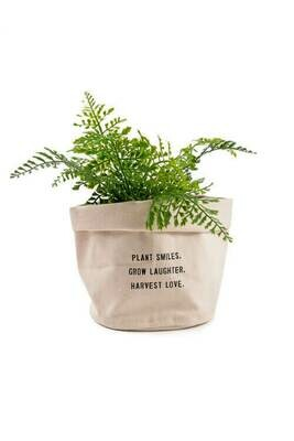 Plant Smiles, Grow Laughter, - Large Canvas Planter