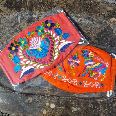 Orange Hand Embroidered Oval Face Mask