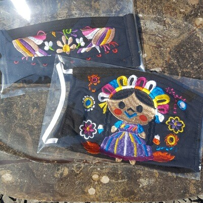 Black Pleated Hand Embroidered Face Mask