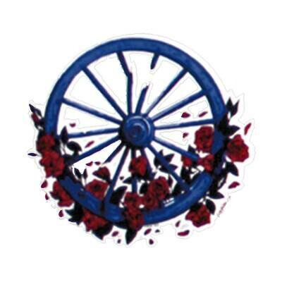 Wheel & Roses Window Sticker