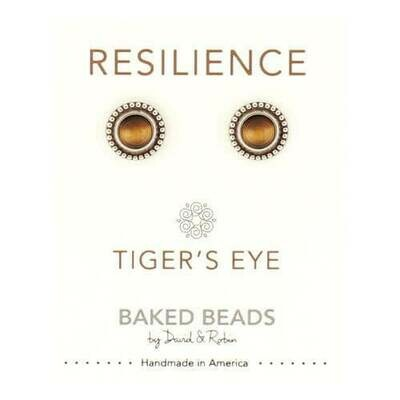 E1102D Resilience Tigers Eye Powerstone Post BB Earrings