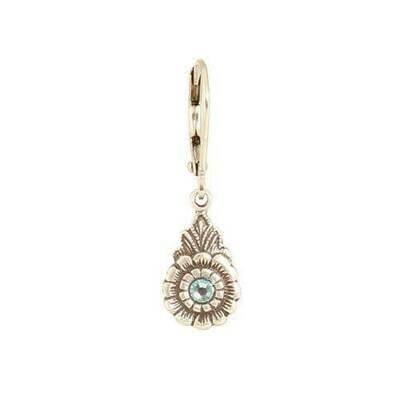 E1106Q Blue Vintage Teardrop Flower BB Earrings