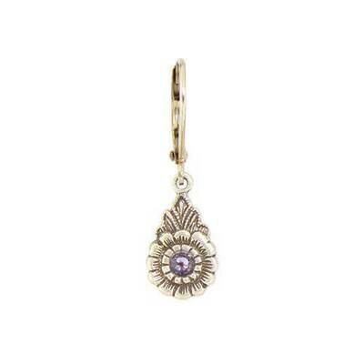 E1106F Purple Vintage Teardrop Flower BB Earrings