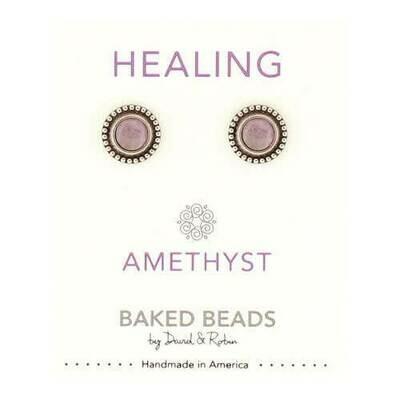 E1102B Healing Amethyst Powerstone Post BB Earrings
