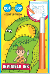 Dot to Dot Dino Count Up to 100 Invisible Ink - Magic Pen
