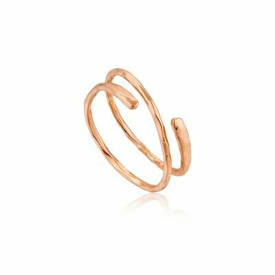 Ania Haie Texture Mix: Twist Adj Ring - Rose Gold