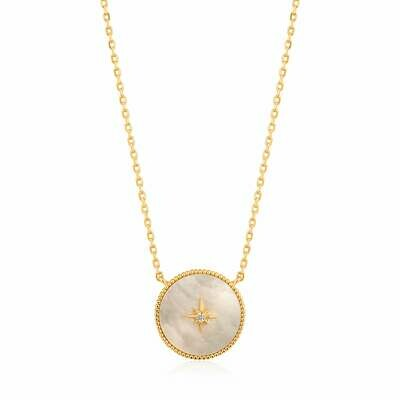 Ania Haie Hidden Gem: Mother of Pearl Emblem Necklace - Gold