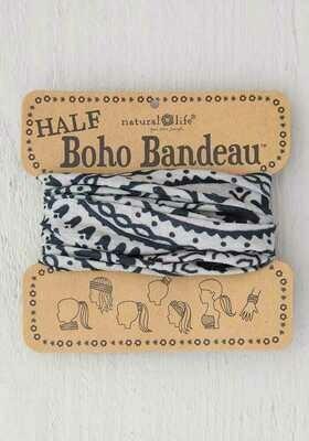 177 Cream Black Mandala Half Boho Bandeau