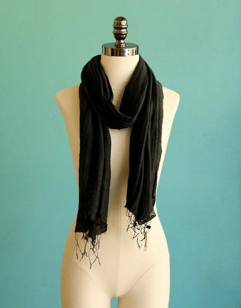 Marquet Black Silk/Cotton Binh Minh Shawl