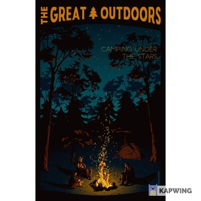 """The Great Outdoors: Camping Under the Stars Travel Poster - 11x17"""""""