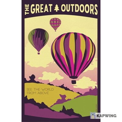 The Great Outdoors: Hot Air Balloon Vintage Travel Poster - 11x17""