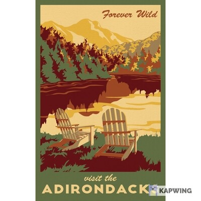 "Adirondacks Travel Poster - 11x17"""