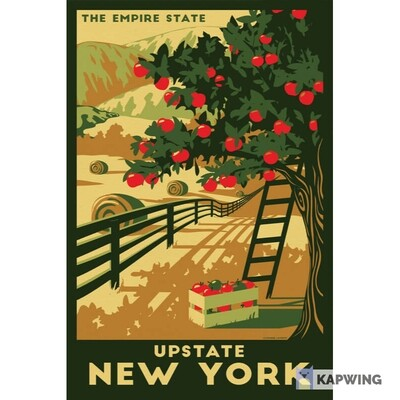 Upstate New York Vintage Travel Poster - 11x17""