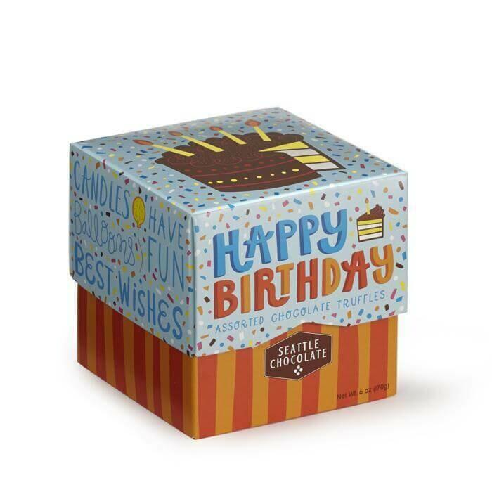 Happy Birthday Cube Truffle Box Seattle Chocolate