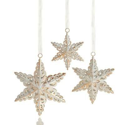 Serrv Antique White Snowflake Ornament Set - 32334