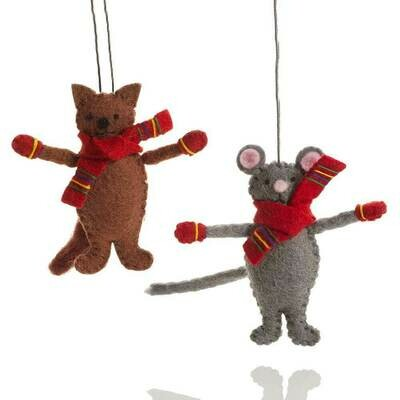 Serrv Cat & Mouse Ornament Set - 65732