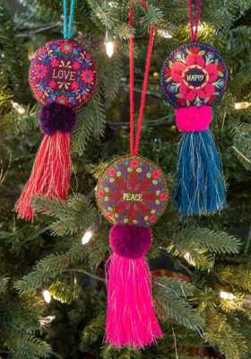 SALE: Peace Tassel Tie On Ornament - org. $12