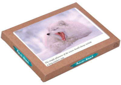 SALE: AtW Arctic Fox Yawn H015 Holiday Cards - org. $16.95