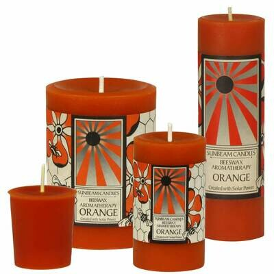 3x4 Beeswax Orange Pillar - Sunbeam