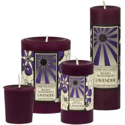 3x4 Beeswax Lavender Pillar - Sunbeam