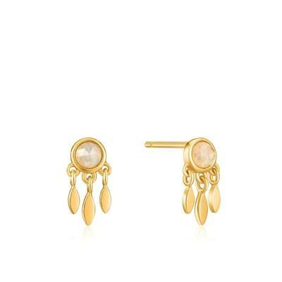 AH Midnight Fever: Midnight Fringe Stud Earrings - Gold