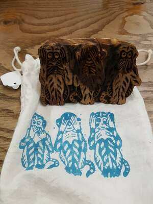 Natural Habitat Wood Monkey Speak/See/Hear No Evil Block Stamp