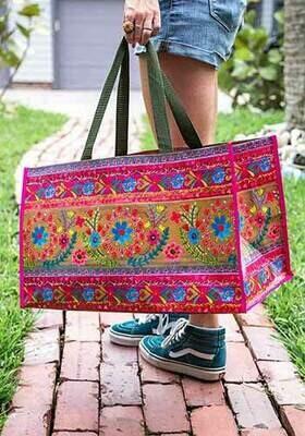 NL Carryall Tote Folk Floral Border Bag