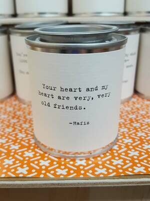 Your heart and my heart are very, very old friends. - Hafiz- Shine Mini Paint Can Candle - Sugarboo