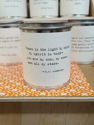 Yours is the light by which my spirit's born-you are my sun, my moon, and all my stars. - e.e. cummings- Shine Mini Paint Can Candle - Sugarboo
