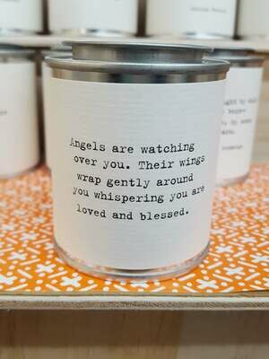 Angels are watching over you. Their wings wrap gently around you whispering you are loved and blessed.- Shine Mini Paint Can Candle - Sugarboo