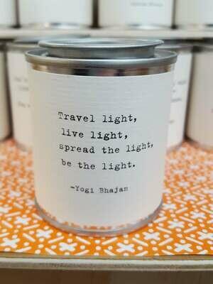 Travel light, live light, spread the light, be the light. - Yogi Bhajan- Shine Mini Paint Can Candle - Sugarboo