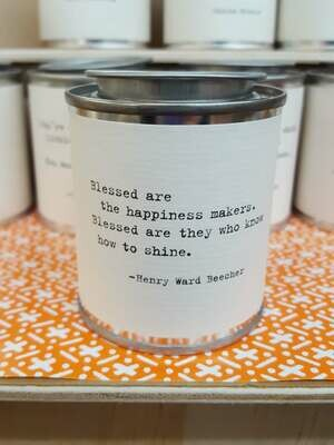Blessed are the happiness makers. Blessed are they who know how to shine. - Shine Mini Paint Can Candle - Henry Ward Beecher- Sugarboo