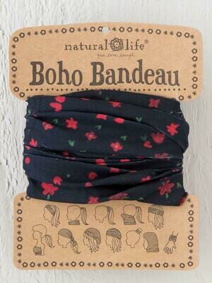 142 Black Red Flowers Boho Bandeau