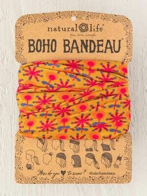 26 Gold with Pink Flowers Boho Bandeau