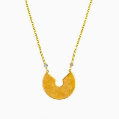 JNE410 Labradorite Keyhole Necklace - Altiplano
