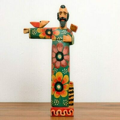 AS98 San Fransisco with Arm Out Handcarved Wooden Saint - Altiplano