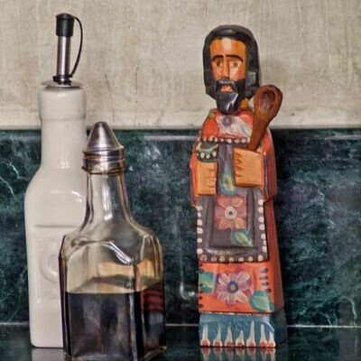 AS94 Medium Wooden San Pasqual Handcarved Wooden Saint - Altiplano