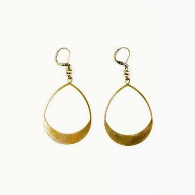JEA441 Lrg Teardrop Hoop Earrings - Brass - Altiplano