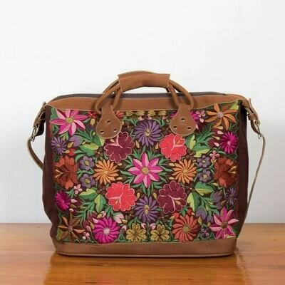 AP26 Embroidered Flower Leather Suitcase - Brown/Burgundy - Altiplano