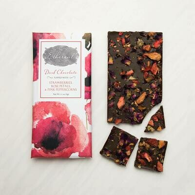 Ethereal Dark Chocolate with Strawberries, Rose Petals, & Pink Peppercorns Inclusion Bar - 2.5oz
