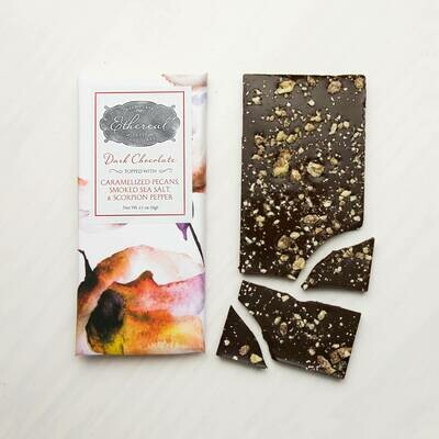 Ethereal Dark Chocolate with Caramelized Pecans, Smoked Sea Salt, & Scorpion Pepper Bar - 2.5oz