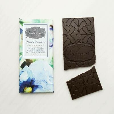 Ethereal Dark Chocolate with French Vanilla, Salted Almond & Olive Oil Ganache Meltaway Bar - 3oz