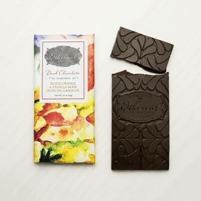 Ethereal Dark Chocolate with Blood Orange, Vanilla Bean & Olive Oil Ganache Meltaway Bar - 3oz
