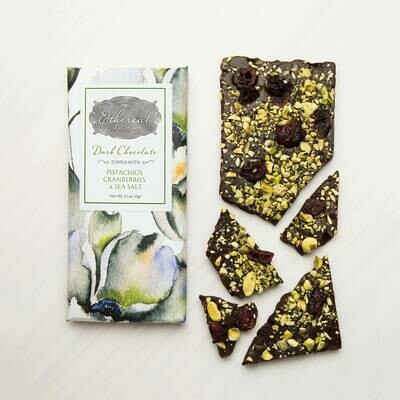 Ethereal Dark Chocolate with Pistachios, Cranberries & Sea Salt Inclusion Bar - 2.5oz