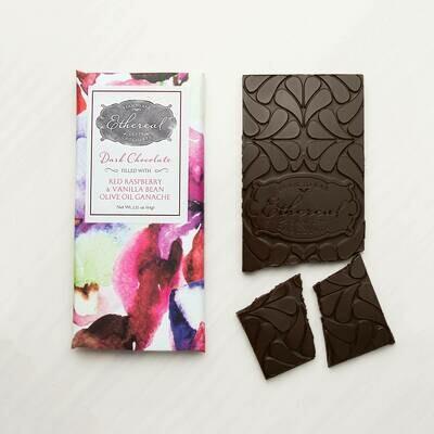 Ethereal Dark Chocolate with Red Raspberry, Vanilla Bean, & Olive Oil Ganache Meltaway Bar - 3oz