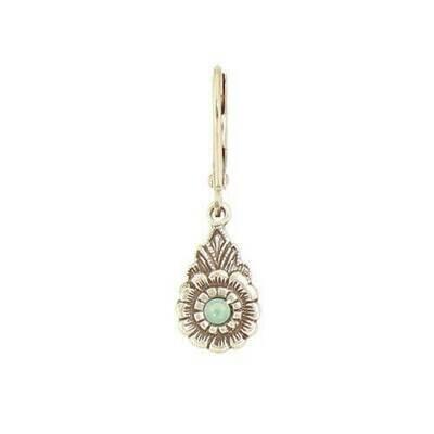 E1106G Green Vintage Teardrop Flower BB Earrings