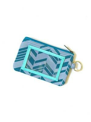 FA Teal Chevron Zippered ID Case Pouch