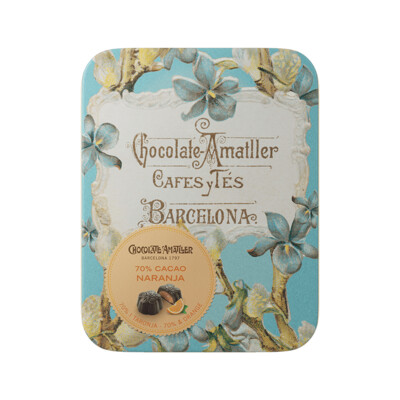 Olo&Co Dark Chocolate Flowers filled with Orange in a Vintage Tin - 72g