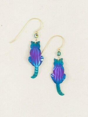 Holly Yashi 9454 Purple/Turq Sitting Kitty Earrings