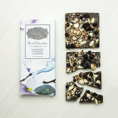 Ethereal Dark Chocolate Blueberries, Lavender, Almonds Inclusion Bar - 2.5oz